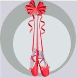 Illustratieschoenen met linten Stock Afbeelding