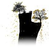 Illustratiesilhouetten van de bomenherfst op de rotsen Royalty-vrije Stock Afbeelding
