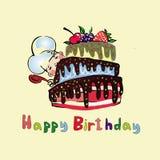 Illustratieskok voor een grote cake met bessen Stock Afbeeldingen