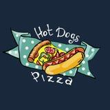 Illustratietekening van hotdogs en pizza met Royalty-vrije Stock Fotografie