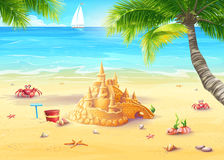 Illustratievakantie door het overzees met zandkasteel en vrolijke paddestoelen Stock Afbeeldingen