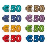 Illustratievector van prijs 50 euro, de munt van Europa Royalty-vrije Stock Afbeelding