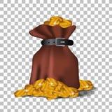 Illustratiezak gouden muntstukgeld voor economie, financiën, zaken vector illustratie