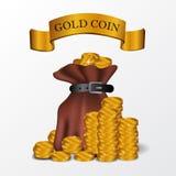 Illustratiezak gouden muntstukgeld voor economie, financiën, zaken royalty-vrije illustratie