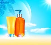 Illustratin di vettore bottiglie 3d con il cosmetico di protezione del sole pro Fotografie Stock Libere da Diritti