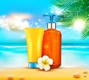 Illustratin do vetor garrafas 3d com o cosmético da proteção do sol pro Foto de Stock Royalty Free