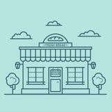 Illustratin van de bakkerijwinkel in de stijl die van de lijnkunst wordt gemaakt royalty-vrije illustratie