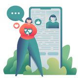 Illustrating of teenage blogger girl near smartphone searching friends and collecting likes royalty free stock photos