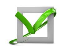 illustratio больших плоских кнопок: зеленые кресты контрольной пометки квадрат, крепко и округленные углы Изолированная белизна иллюстрация вектора