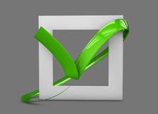 illustratio больших плоских кнопок: зеленые кресты контрольной пометки квадрат, крепко и округленные углы Изолированный серый цве Стоковое Изображение RF