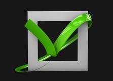 illustratio больших плоских кнопок: зеленые кресты контрольной пометки квадрат, крепко и округленные углы Изолированная чернота иллюстрация штока