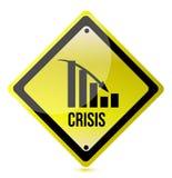 Illustratio amarillo de la señal de tráfico del gráfico de la crisis a continuación Imágenes de archivo libres de regalías