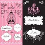 Illustratio de carte d'invitation de mariage de vintage Images stock