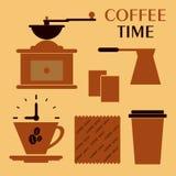 Illustratio decorativo delle icone della bevanda piana della raccolta del caffè Fotografia Stock
