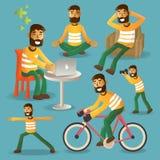 Illustratio do vetor do jogo de caracteres da vida quotidiana do conceito do estilo de vida Foto de Stock