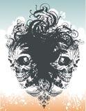 Illustratio floreale del cranio del demone Fotografia Stock