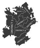 Illustratio nero identificato U.S.A. della mappa della città di Charlotte North Carolina Fotografia Stock