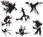 Illustration à l'encre noire de taches sur le blanc, vecteur Photographie stock libre de droits