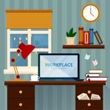 Illustration à la maison de vecteur d'espace de travail illustration libre de droits