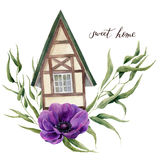 Illustration à la maison douce d'aquarelle Maison d'aquarelle dans le style alpin avec des feuilles d'eucalyptus et des fleurs d' Photos stock