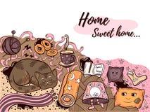Illustration à la maison douce à la maison de griffonnage Photo libre de droits