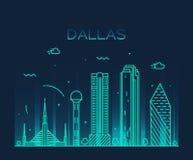Illustration à la mode de vecteur d'horizon de Dallas linéaire illustration libre de droits