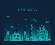 Illustration à la mode de vecteur d'horizon de Kolkata linéaire Images stock