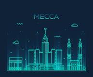 Illustration à la mode de vecteur d'horizon de Mecque linéaire illustration stock