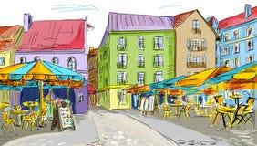 Illustration à la vieille ville images stock