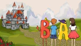 Illustration éducative Enfants et ABC Les enfants avec des lettres vont au château pour obtenir la connaissance Photos stock