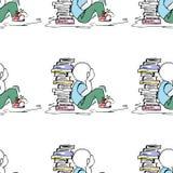 Illustration éducative Les gens au travail Étude, session, bibliothèque, la vie d'étudiant Configuration sans joint Photographie stock libre de droits