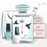 Illustration élégante de mode avec des bouteilles de parfum et composer le Th illustration libre de droits
