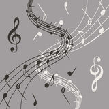 Illustration élégante des notes de musique sur le fond gris pour le slogan, l'affiche, l'insecte ou etc. Photo stock
