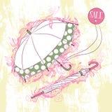 Illustration élégante du parapluie deux ouvert et fermé Photographie stock libre de droits
