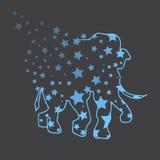 Illustration Éléphant avec des étoiles croquis Images libres de droits