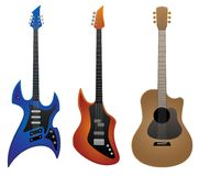 Illustration électrique de vecteur de guitare, de Bass Guitar et de guitare acoustique de roche Photographie stock