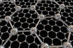 Illustration électronique d'atomes de carbone de Graphene Photo stock