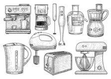 Illustration électronique de collection d'outil de cuisine, dessin, gravure, encre, schéma, vecteur illustration de vecteur