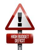 Illustration élevée de panneau d'avertissement de déficit budgétaire Photos libres de droits