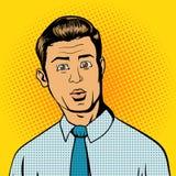 Illustration étonnée de vecteur de style d'art de bruit d'homme Photo stock