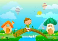 Illustration über Jungen mit Buch und Fee gestalten landschaftlich Lizenzfreies Stockfoto