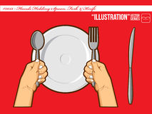 Illustration #0013 - Hands Holding Spoon Fork & Stock Image