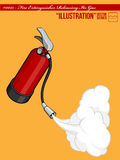 Illustration #0015 - Fire Extinguisher Releasing. An isolated  of a fire extinguisher releasing its gas to put off fire. Available as a Vector in EPS8 format Royalty Free Stock Photo