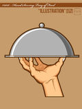 Illustration #0017 - Hands Opening Tray of Food Royalty Free Stock Image