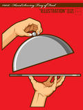 Illustration #0017 - Hands Opening Tray of Food Royalty Free Stock Images