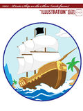 Illustration #002 Pirate Ship on the Shore_circle Royalty Free Stock Photography