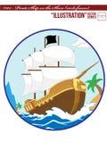 Illustration #002 Pirate Ship on the Shore_circle royalty free illustration
