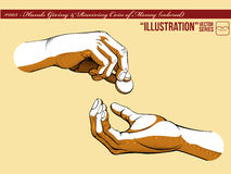 Illustration #005 Hands Giving & Receiving Money_1. A vector set of hands gesture in giving and receiving money. Good for many applications & uses, color easily Stock Photo