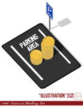 Illustration #006 - Coins on Parking Lot. A isolated vector set of a parking lot with pole sign & coin of money, symbolizing the increasing price of parking Royalty Free Stock Photos