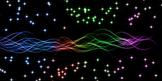 Illustration. Colored lines and stars on black Royalty Free Stock Photo